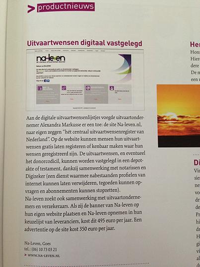 Brancheblad Uitvaartzorg Schrijft Over Na-leven.nl