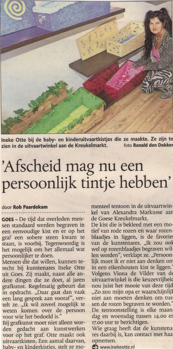 Exposistie Ineke Otte In De Uitvaartwinkel