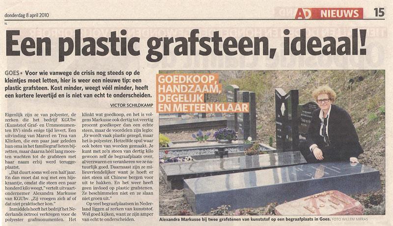 Een Plastic Grafsteen, Ideaal!