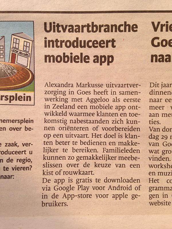 Uitvaartbranche Introduceert Mobiele App