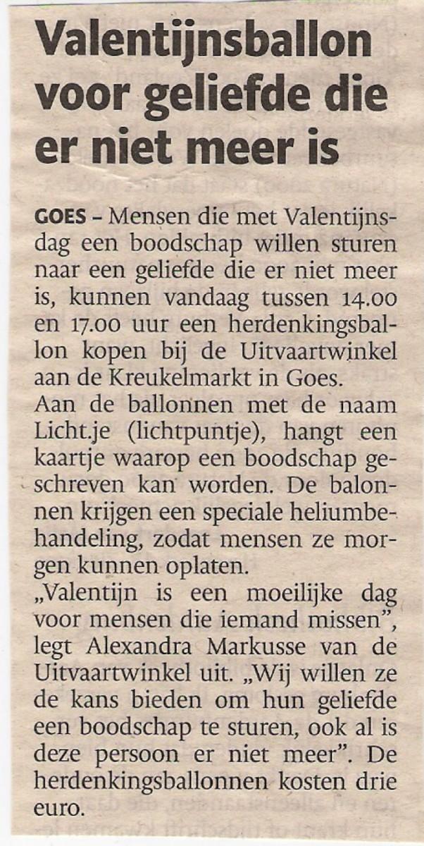 Valentijnsballon Voor Geliefde Die Er Niet Meer Is